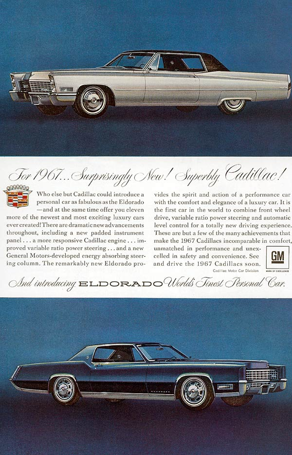 1967 Cadillac Eldorado >> All the 1967 Cadillac Ads that were ever produced - www ...